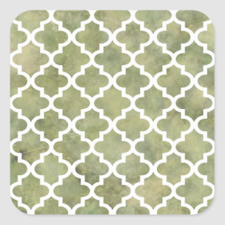 Moroccan Tile Trellis Patterm on Moss Green Marble Square Sticker