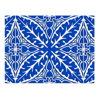 Moroccan tiles - cobalt blue and white postcard