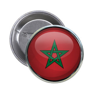 Morocco Flag Glass Ball 6 Cm Round Badge