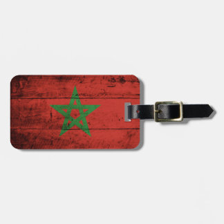 Morocco Flag on Old Wood Grain Travel Bag Tags