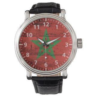 Morocco Flag on Old Wood Grain Wrist Watch