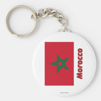 Morocco Flag with Name Basic Round Button Key Ring