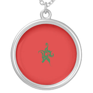 Morocco Gnarly Flag Round Pendant Necklace
