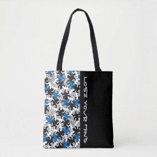 Mosaic Geckos Pattern - blue black white grey Tote Bag