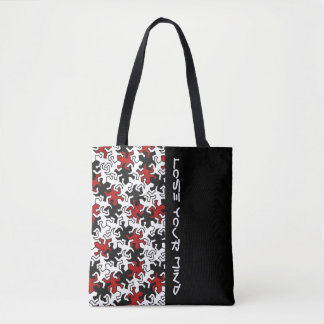 Mosaic Geckos Pattern - red black white Tote Bag