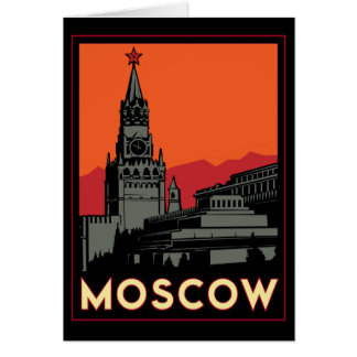 moscow russia kremlin art deco retro travel greeting card