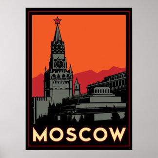 moscow russia kremlin art deco retro travel poster