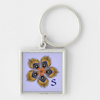 Moth Wing Abstract Monogram Keychain