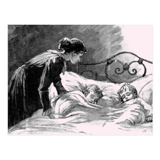 Mother and Children Sleeping Postcard