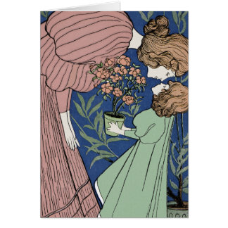 Mother and Daughter - Art Nouveau Greeting Card