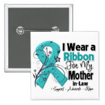 Mother-in-Law  - Ovarian Cancer Ribbon 15 Cm Square Badge