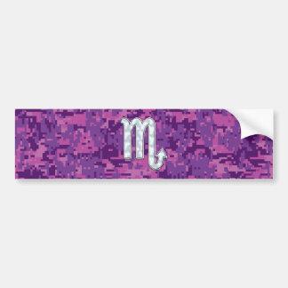 Mother of Pearl Scorpio Zodiac Pink Digital Camo Bumper Sticker