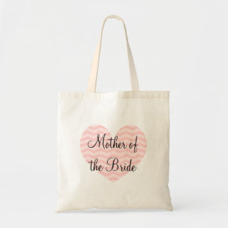 Mother of the bride chevron heart wedding tote bag
