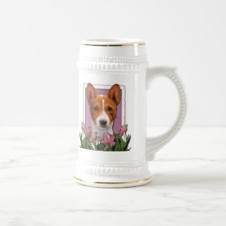 Mothers Day - Pink Tulips - Basenji Beer Steins