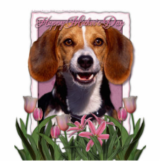 Mothers Day - Pink Tulips - Beagle Standing Photo Sculpture