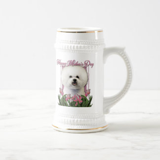 Mothers Day - Pink Tulips - Bichon Frise Beer Steins