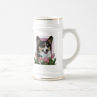 Mothers Day - Pink Tulips - Corgi Beer Steins