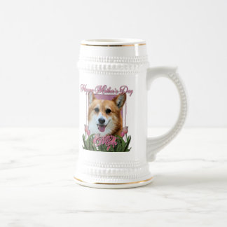 Mothers Day - Pink Tulips - Corgi - Owen Beer Steins