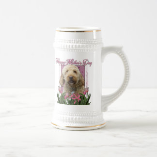 Mothers Day - Pink Tulips - GoldenDoodle Beer Steins