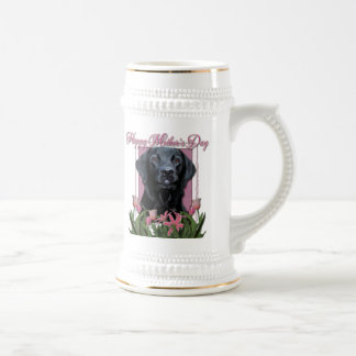 Mothers Day - Pink Tulips - Labrador - Black -Gage Beer Steins