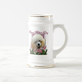 Mothers Day - Pink Tulips - Poodle - Apricot Beer Steins