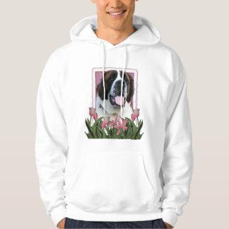 Mothers Day - Pink Tulips - Saint Bernard - Mae Hooded Sweatshirt