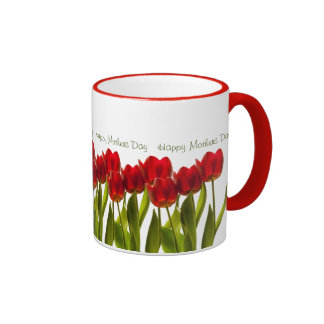 Mother's Day - Row of Bright Red Spring Tulips Ringer Mug