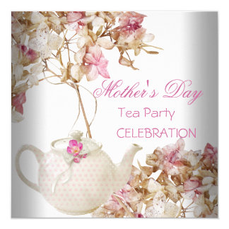 Mother's Day White Pink floral Tea 13 Cm X 13 Cm Square Invitation Card