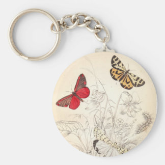 Moths and Butterflies Basic Round Button Key Ring