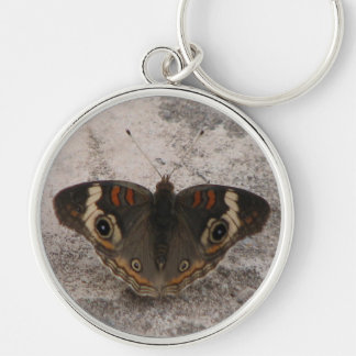 Moths wing pattern of a snakes head Silver-Colored round key ring