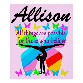 MOTIVATIONAL PERSONALIZED GYMNAST QUOTE POSTER