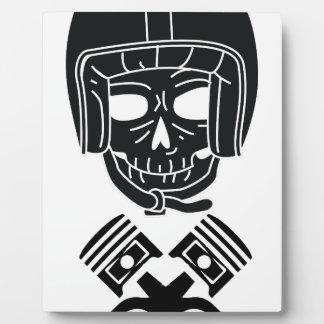 Motorcycle Helmet Skull Photo Plaques