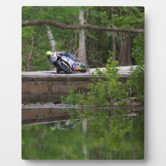Motorcycle Racer on Old Creek Bridge Display Plaque