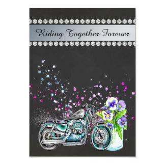 Motorcycle Wedding Invitation with Mason Jar