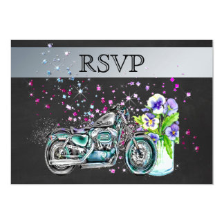 Motorcycle Wedding RSVP with Mason Jar 13 Cm X 18 Cm Invitation Card