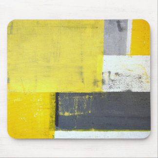 'Mounted' Grey and Yellow Abstract Art Mouse Pad