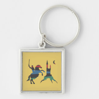 Mounted Hero vs Castle Silver-Colored Square Key Ring