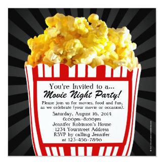Movie Night Popcorn Custom Party Invitations, Sq. 13 Cm X 13 Cm Square Invitation Card