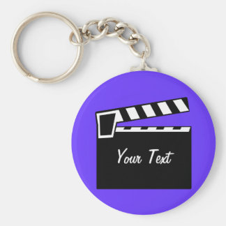 Movie Slate Clapperboard Board Basic Round Button Key Ring