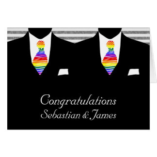 Mr and Mr, Two Grooms Wedding Congratulations Greeting Card