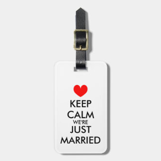 Mr and Mrs keep calm just married luggage tags