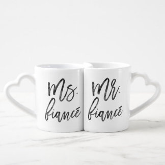 Mr. and Ms. Fiancé Inky Trendy Lettering Lovers Mug