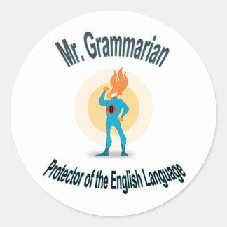 Mr. Grammarian Superhero Saves English Round Sticker