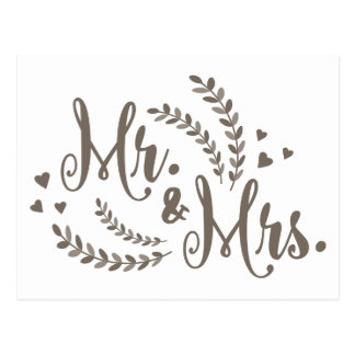 MR & MRS Just Married Gray Floral Hearts Wedding Postcard