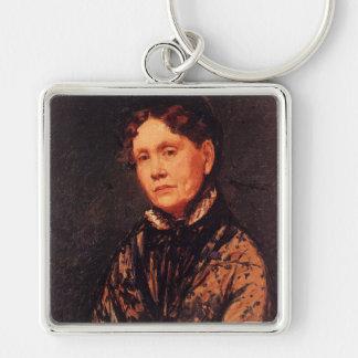 'Mrs. Robert Simpson Cassatt' Silver-Colored Square Key Ring