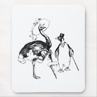 Ms Ostrich and Mr Penguin Mouse Pad