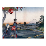 Mt. Fuji Viewed from a Teahouse c. 1800s Japan Postcard