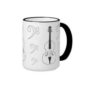 Mug - Double Bass + clefs. Pick your style + color
