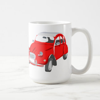 Mug with Vintage Citroen 2CV Car in Red