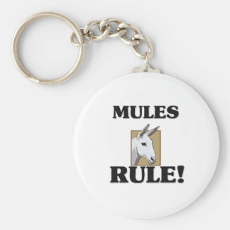 MULES Rule! Basic Round Button Key Ring